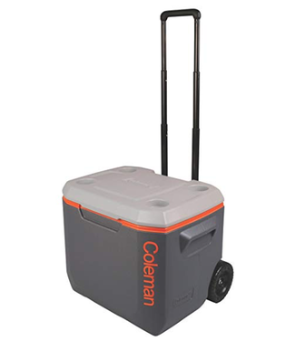 Coleman 3000005589 50 Qt. Xtreme 5 Wheeled Cooler, Grey with Orange