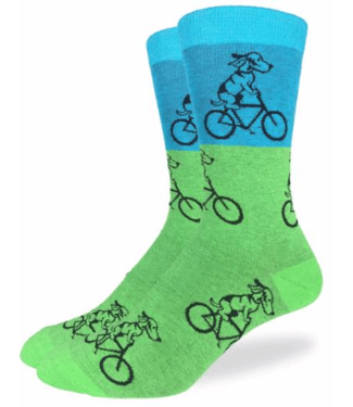 Good Luck Sock Good Luck Socks, Men's Green & Blue Dog Riding Bike Socks - Shoe Size 7-12