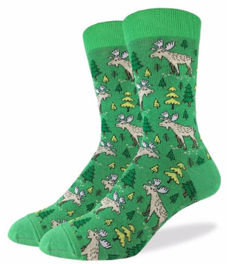 Good Luck Sock Good Luck Socks, Men's Moose in the Forest Socks - Shoe Size 7-12