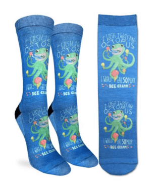 Good Luck Sock Good Luck Socks, Women's Ice Cream Octopus Socks - Shoe Size 5-9