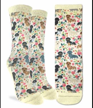 Good Luck Sock Good Luck Socks, Women's Floral Dachshunds Socks - Shoe Size 5-9
