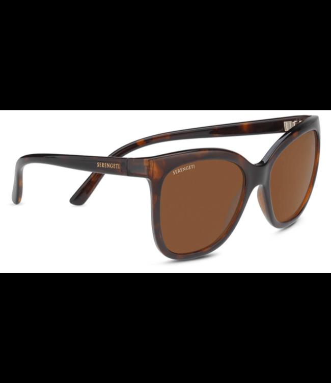 Serengeti Serengeti, Agata Brown Tort Min Polarized Drivers Grad Base 6 Sunglasses, 8777