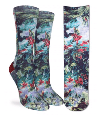 Good Luck Sock Good Luck Socks, Women's Red Floral Socks - Shoe Size 5-9