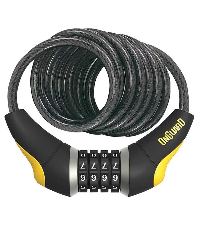 OnGuard, Doberman 8031, Coil cable with combination lock, 12mm x 185cm (12mm x 6')