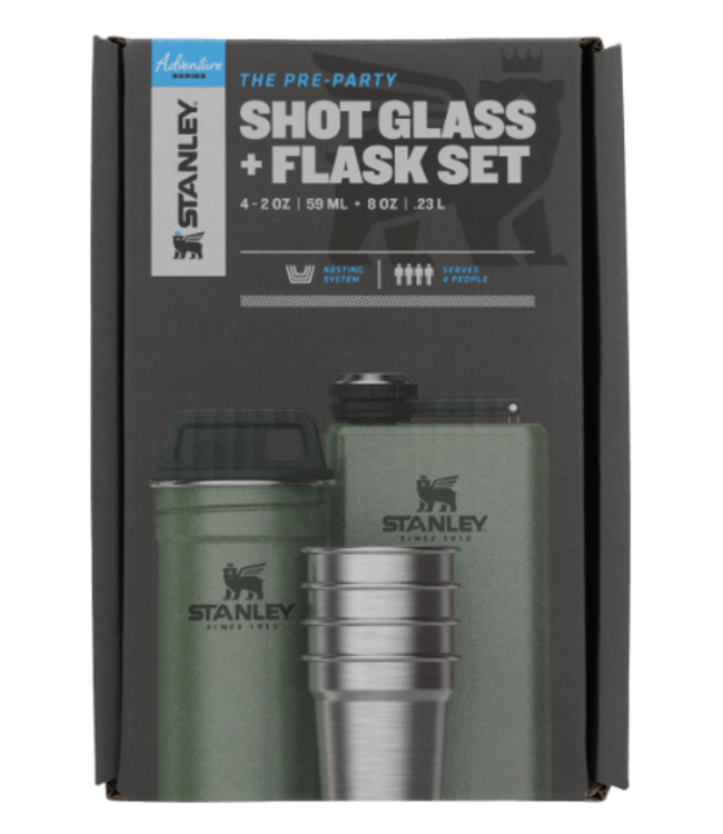 Stanley Stanley, Adventure Gift Box - Shot Glass & Flask Set, Hammertone Green