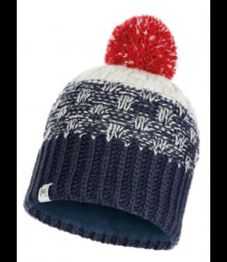 Buff Buff, Jr Knitted & Polar Hat, Tait Dark Denim Blue/White