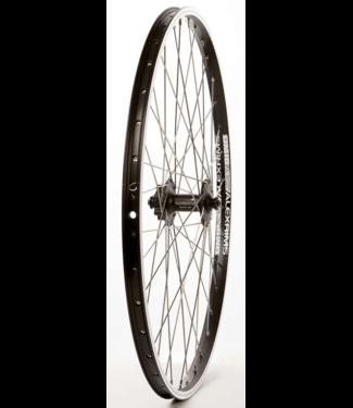 Wheel Shop, Front 26'' Wheel, 36H Black Alloy Double Wall Alex DM-18/ Black Shimano HB-M475 QR 6 Bolt Disc Hub, Stainless Spokes
