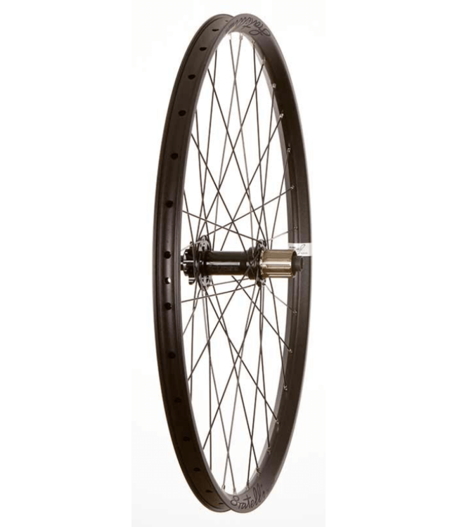 Wheel Shop, Rear 27.5'' Wheel, 32H Black Alloy Double Wall Fratelli FX25 Disc/ Black Novatec DH82 12x157mm TA 9-11spd Six Bolt Disc Hub, DT Black Stainless Spokes