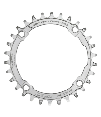 Wolf Tooth Wolf Tooth Components, Stainless BCD 104mm, Chainring, Teeth: 30, Speed: 9-12, BCD: 104, Bolts: 4, Middle, Stainless Steel, Silver