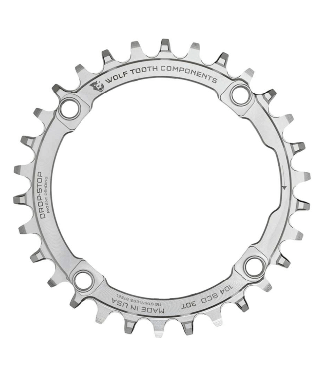 Wolf Tooth Components Wolf Tooth Components, Stainless BCD 104mm, Chainring, Teeth: 30, Speed: 9-12, BCD: 104, Bolts: 4, Middle, Stainless Steel, Silver