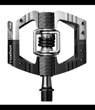 Crank Brothers Crank brothers, Mallet E Long Spindle Pedals, Black & Silver / Black Spring
