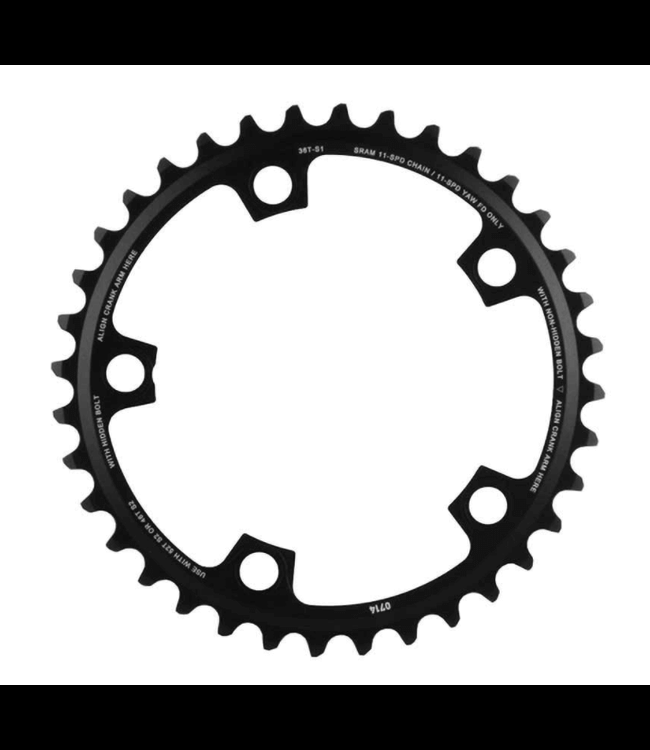 SRAM SRAM, 36T, 11sp, BCD: 110mm, 5 Bolts, Red X-Glide, Inner Chainring, For 36/46 or 36/52, Aluminum, Black, 11.6218.010.009