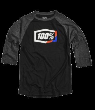 100% 100% Stripes 3/4 Sleeve Tech Tee Black L