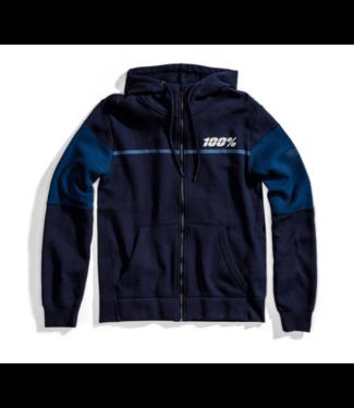 100% 100% Emissary Hooded Zip Sweatshirt, Navy, Large