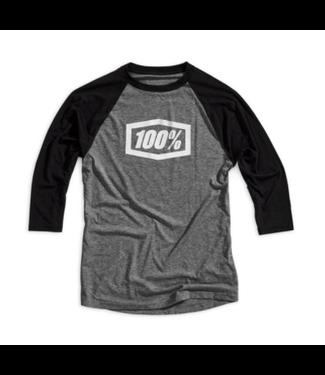 100% 100%, Essential 3/4 Sleeve Tech Tee, Grey/Black, Large