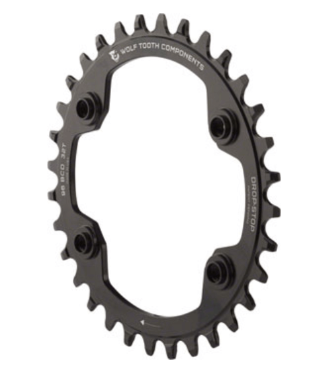 Wolf Tooth Components Wolf Tooth 96 BCD Chainring - 30t, 96 Asymmetric BCD, 4-Bolt, Drop-Stop, For Shimano XTR M9000 and M9020 Cranks, Black
