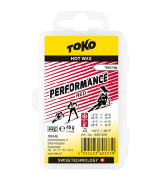 Toko Toko, Performance Red Wax 40g, Snow -4 °C to -12 °C