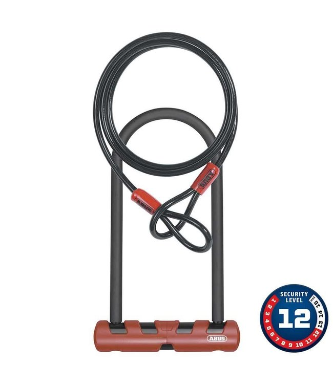 Abus Abus, Ultimate, U-Lock and cable, 160mm x 230mm (14mm x 6.3'' x 9''), 10mm x 120cm (10mm x 4') cable, With USH bracket