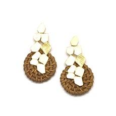 Matte Gold Rattan Earrings