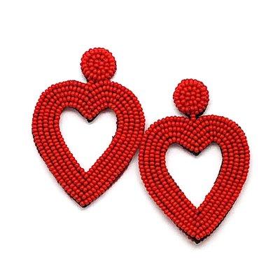 Beaded Heart Earrings - Red