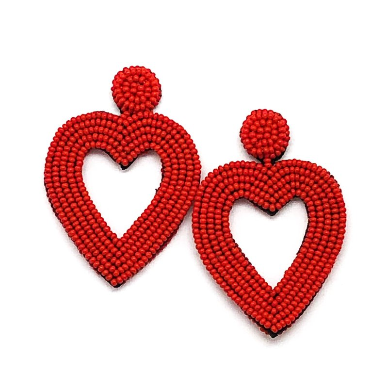 Beaded Heart Earrings - Red
