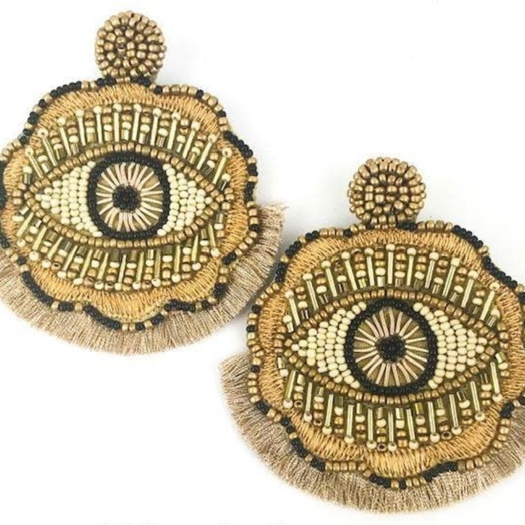 Statement Eye Earrings - Gold