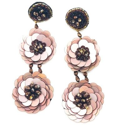 Chocolate Flower Drop Earrings
