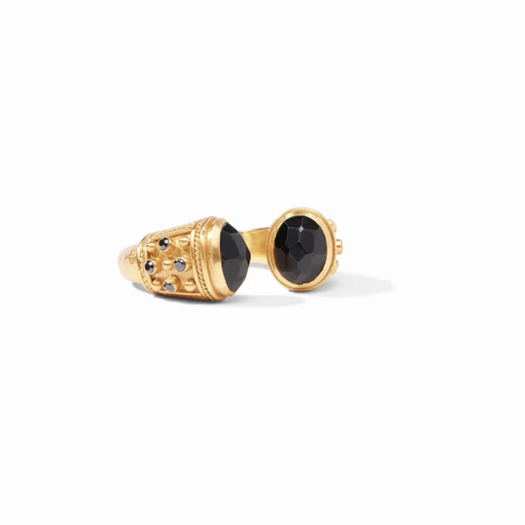 Paris Ring Gold Black Onyx Endcaps and Accents Size 6/7