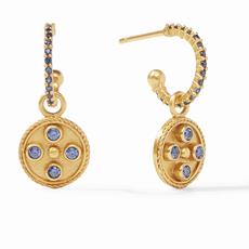 Paris Charm Earring Gold Sapphire Blue