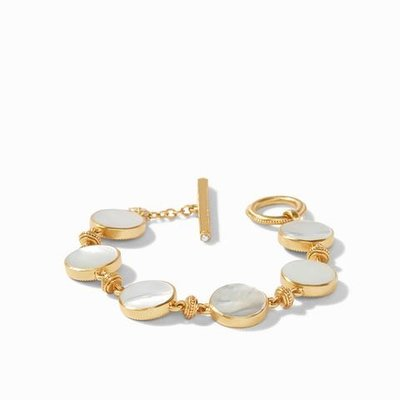 Coin Double Sided Bracelet Gold Mother of Pearl