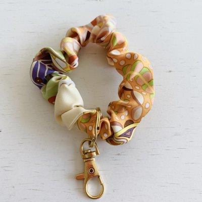 Vintage Hermes Wristlet/ Small Scrunchie orange poppy