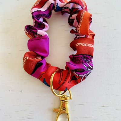 Vintage Hermes Wristlet/ Small Scrunchie RED/Purple multi