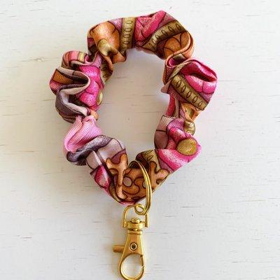 Vintage Hermes Wristlet/ Small Scrunchie pink/orange/swirl