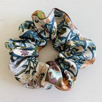 LARGE  Vintage Hermes Scrunchie taupe/blue/green/pattern