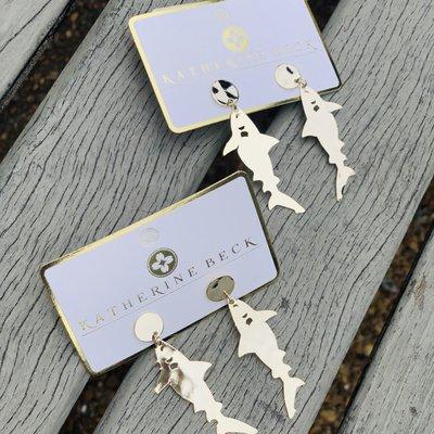 Gold Small Shark Earrings