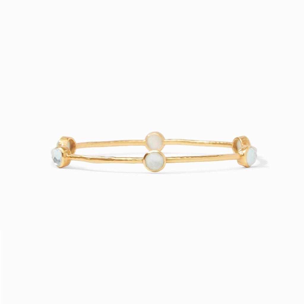 Milano Bangle Gold Iridescent Aquamarine - Medium