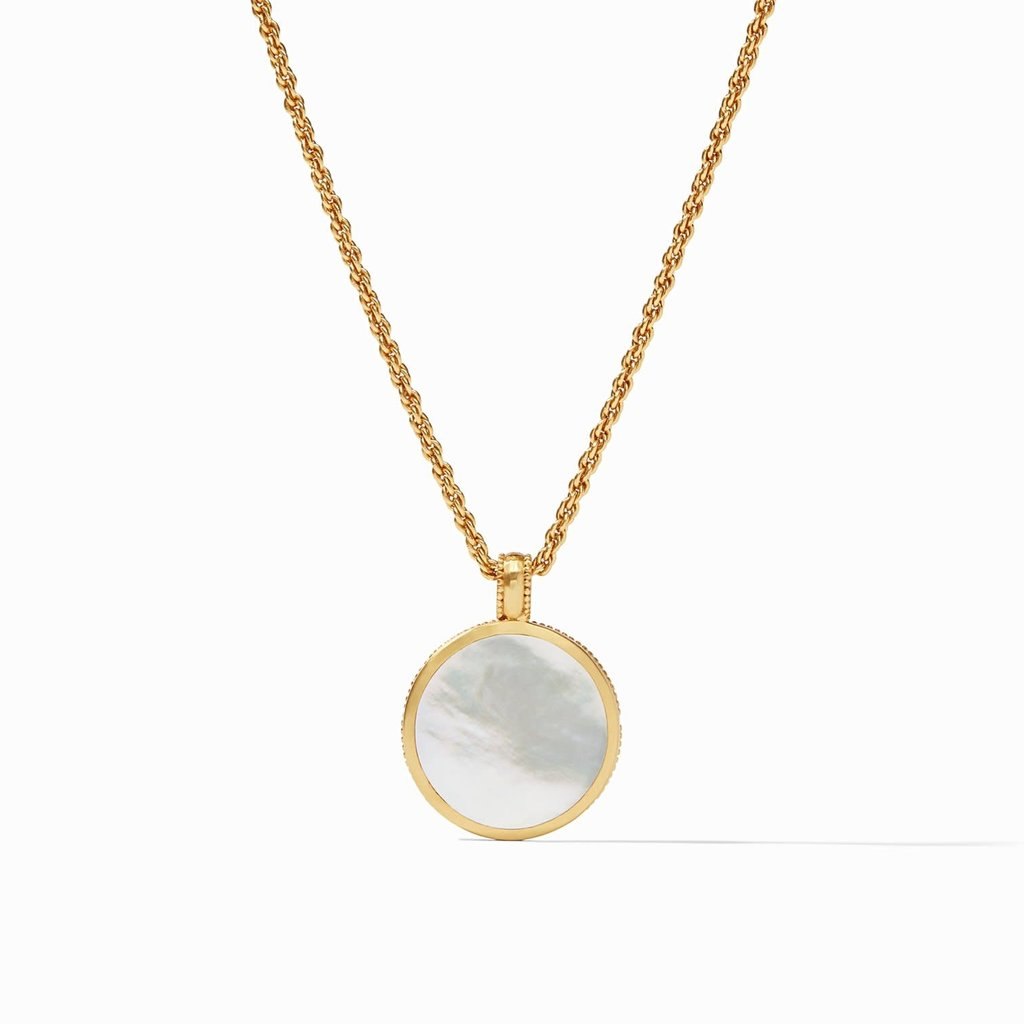 Coin Statement Pendant- Iridescent Clear Crystal