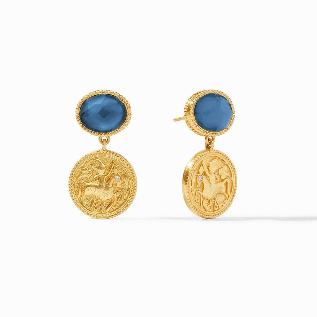 ER591GIAB00 Coin Midi Earring - Iridescent Azure Blue