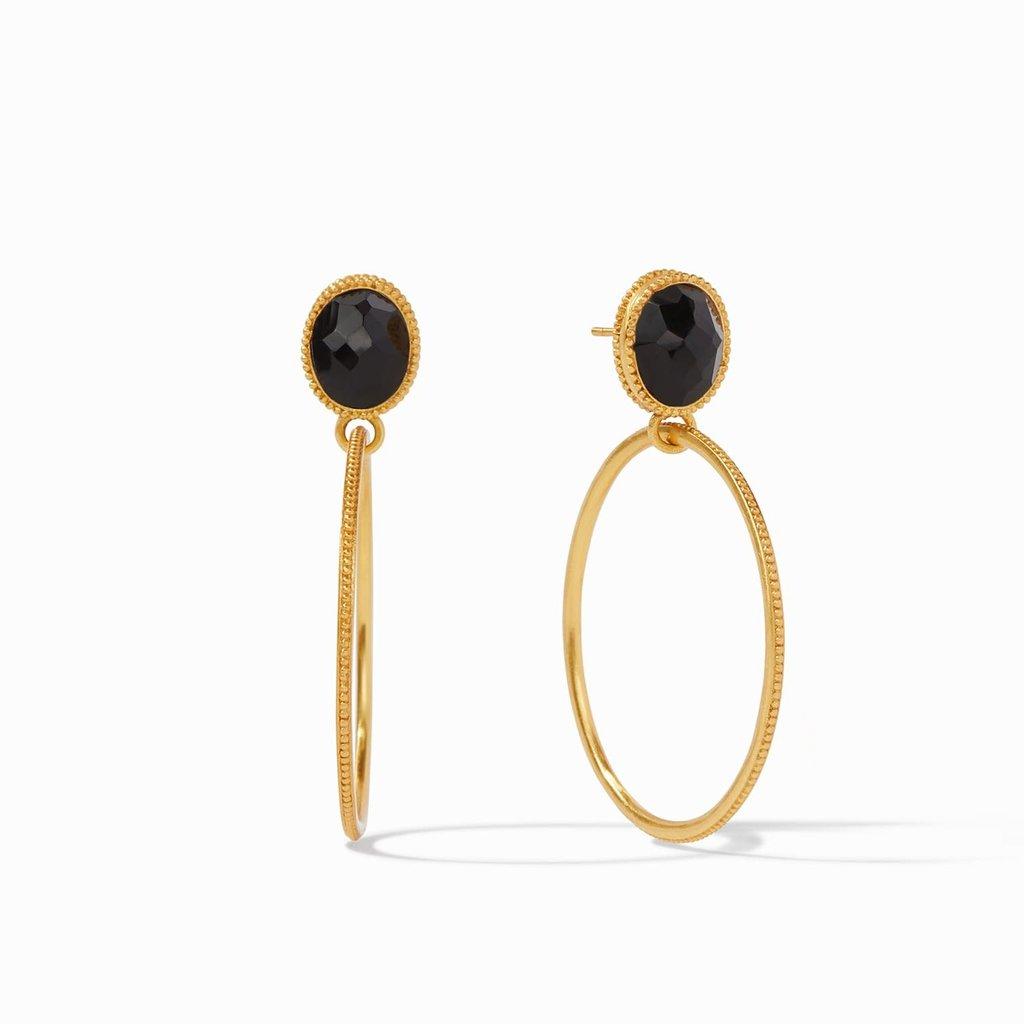 Verona Statement Earring Gold Obsidian Black