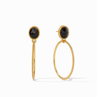 Verona Statement Earring Gold Obsidian Black