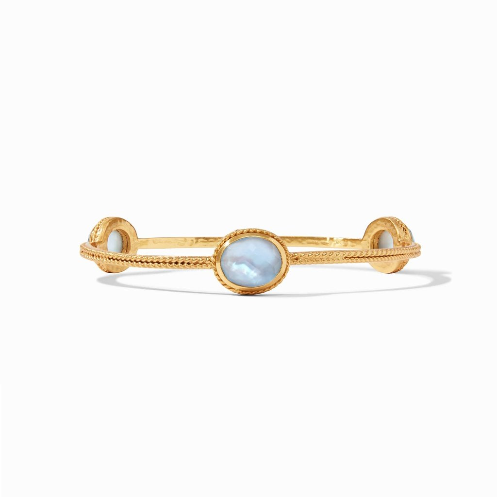 Calypso Bangle Gold Iridescent Chalcedony Blue Medim