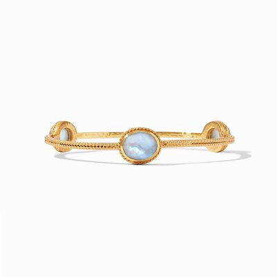 Calypso Bangle Gold Iridescent Chalcedony Blue Medim