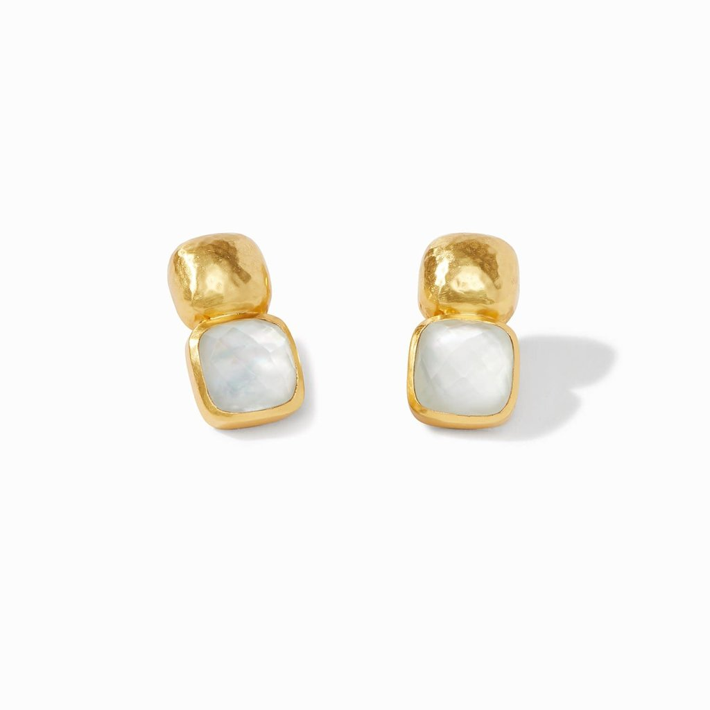 Catalina Earring Gold Iridescent Clear Crystal