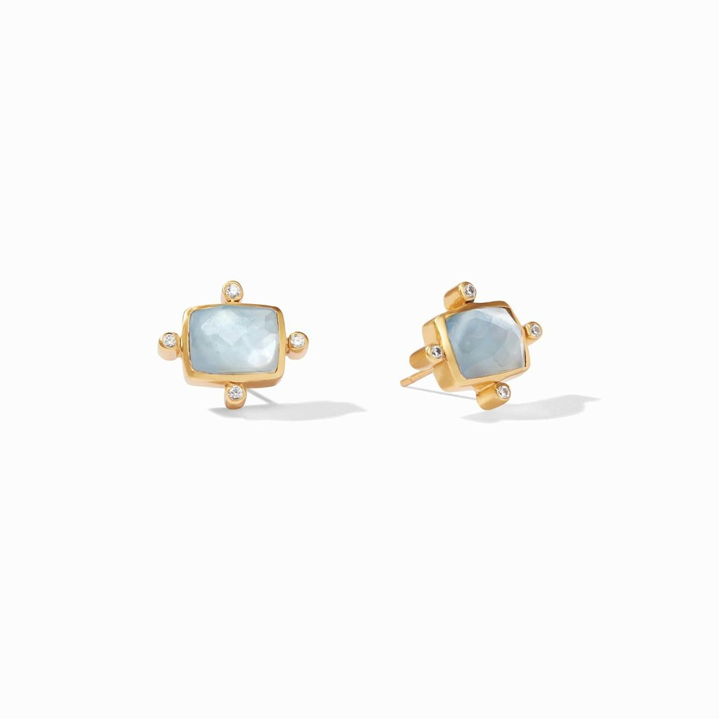 Clara Stud Gold Iridescent Chalcedony Blue