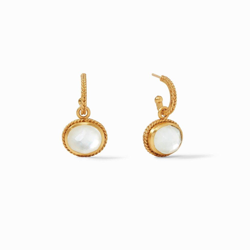 Calypso Hoop & Charm Earring Gold Iridescent Clear Crystal