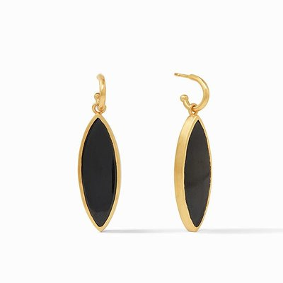 Venus Statement Earring Gold Obsidian Black