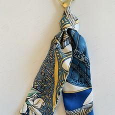 Vintage Hermes Key Ring/ Bag Charm RoyalBlue/Mustard/Lily
