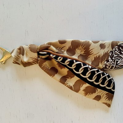 Vintage Hermes Key Ring/ Bag Charm Black/Taupe/Chainlink