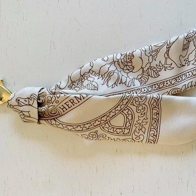 Vintage Hermes Key Ring/ Bag Charm Neutral Bandana