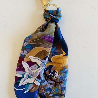Vintage Hermes Key Ring/ Bag Charm Navy Jungle